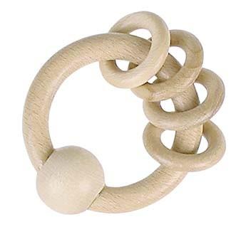 Dřevěný kroužek s kroužky, přírodní