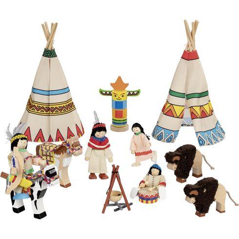 Indiánská vesnice s panenkami