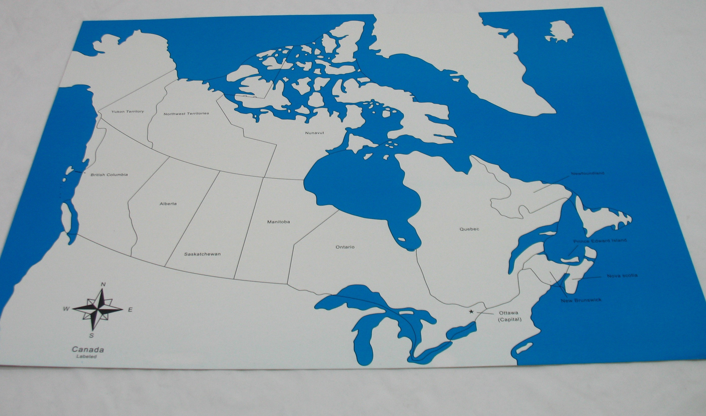 Kontrolní mapa - Kanada Nová - s popisky