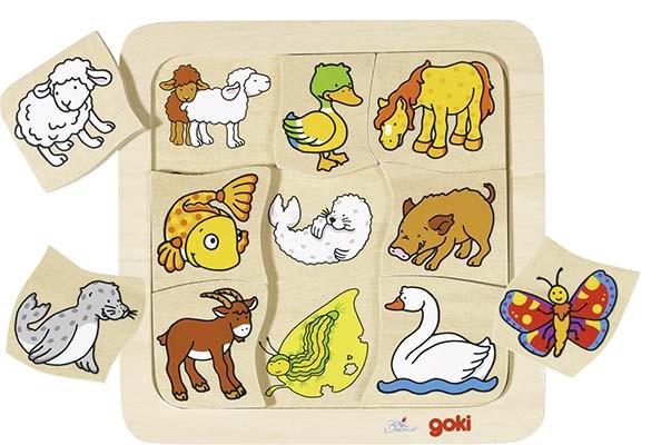 Dřevěné puzzle – Kdo ke komu patří?